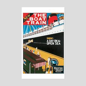 Boston Maine Boat Train Rectangle Sticker