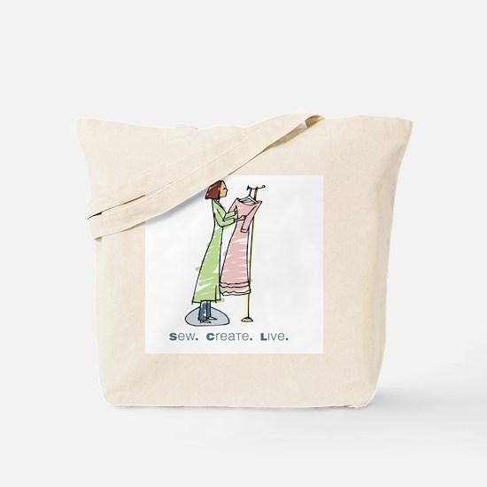 """sew. create. live""  Tote Bag"