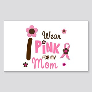 I Wear Pink For My Mom 12 Rectangle Sticker