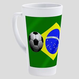 Brazilian Soccer Flag 17 Oz Latte Mug