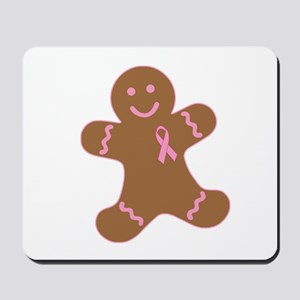 Pink Ribbon Gingerbread Man Mousepad