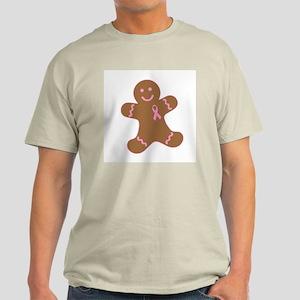 Pink Ribbon Gingerbread Man Light T-Shirt