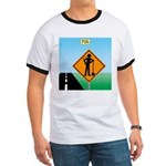 Men Not at Work Sign Ringer T