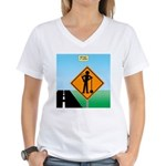 Men Not at Work Sign Women's V-Neck T-Shirt
