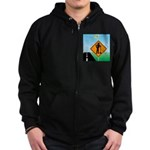 Men Not at Work Sign Zip Hoodie (dark)