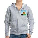 Men Not at Work Sign Women's Zip Hoodie