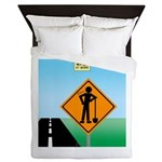 Men Not at Work Sign Queen Duvet