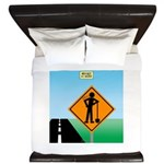 Men Not at Work Sign King Duvet