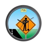 Men Not at Work Sign Wall Clock