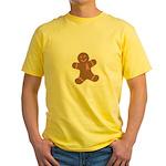 Pink Ribbon Gingerbread Man S Yellow T-Shirt