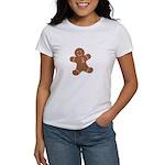 Pink Ribbon Gingerbread Man S Women's T-Shirt
