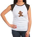 Pink Ribbon Gingerbread Man S Women's Cap Sleeve T