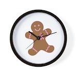Pink Ribbon Gingerbread Man S Wall Clock