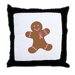Pink Ribbon Gingerbread Man S Throw Pillow