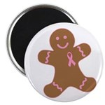 Pink Ribbon Gingerbread Man S Magnet
