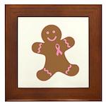Pink Ribbon Gingerbread Man S Framed Tile