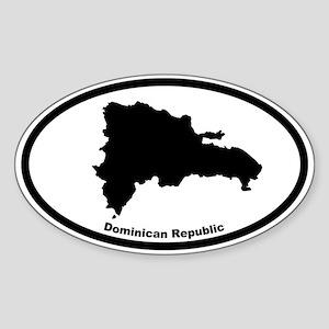 Dominican Republic Outline Oval Sticker