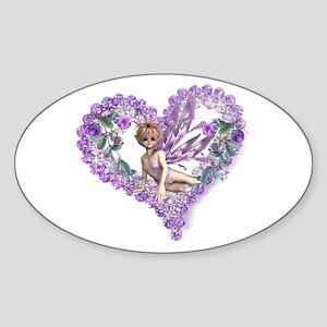 Amethyst Fairy Heart Oval Sticker