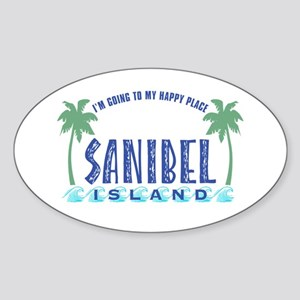 Sanibel Happy Place - Oval Sticker