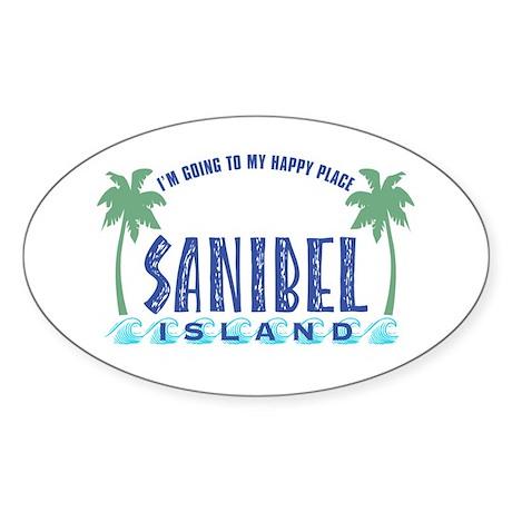 Sanibel Happy Place - Oval Sticker