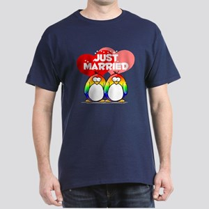 Just Married Rainbow Penguins Dark T-Shirt