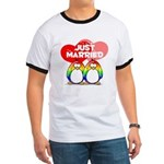 Just Married Rainbow Penguins Ringer T