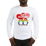 Just Married Rainbow Penguins Long Sleeve T-Shirt
