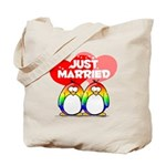Just Married Rainbow Penguins Tote Bag