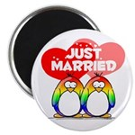 Just Married Rainbow Penguins Magnet