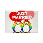 Just Married Rainbow Penguins Rectangle Magnet