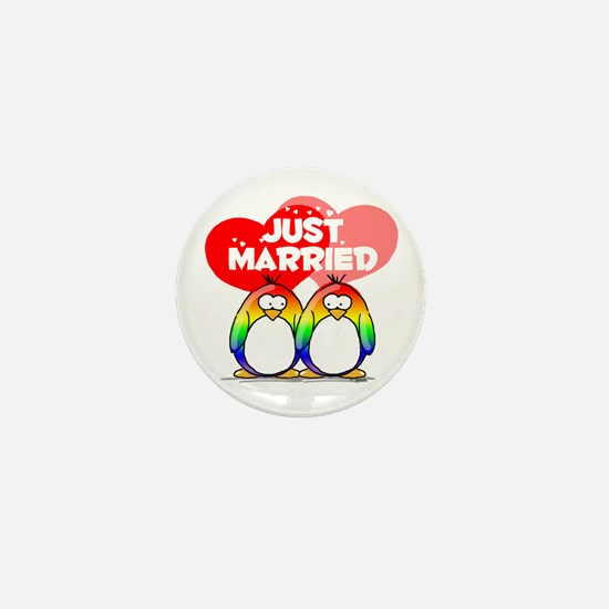 Just Married Rainbow Penguins Mini Button