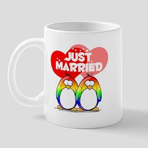 Just Married Rainbow Penguins Mug