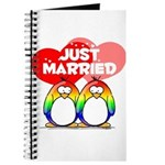 Just Married Rainbow Penguins Journal