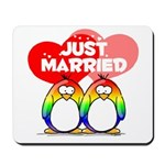 Just Married Rainbow Penguins Mousepad