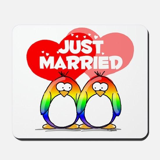 Just Married Rainbow Penguins Mousepad