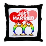 Just Married Rainbow Penguins Throw Pillow