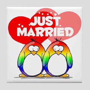 Just Married Rainbow Penguins Tile Coaster