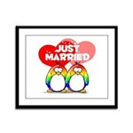 Just Married Rainbow Penguins Framed Panel Print