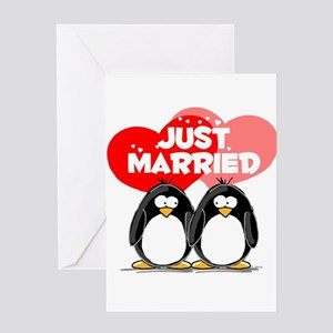 Just Married Penguins Greeting Card