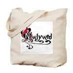 Red/Black Heart Newlywed Tote Bag