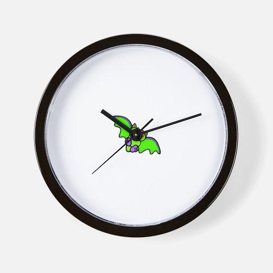 CUTE GREEN BAT Wall Clock