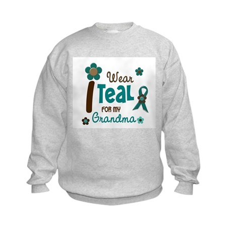 I Wear Teal For My Grandma 12 Kids Sweatshirt