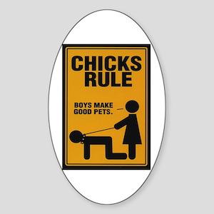 Chicks Rule Oval Sticker