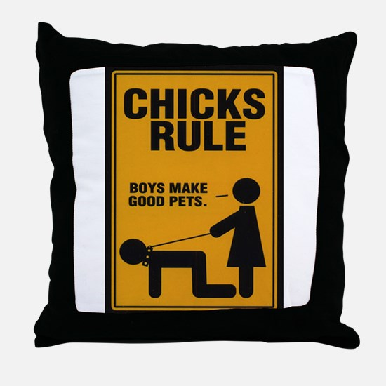 Chicks Rule Throw Pillow