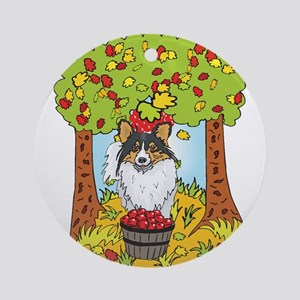 Fall Sheltie Ornament (Round)