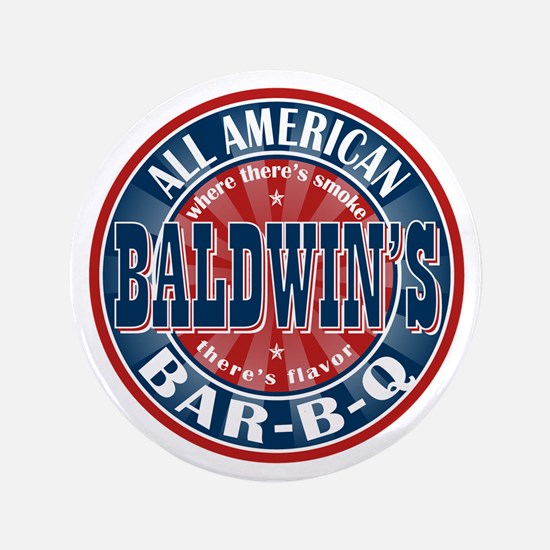 "Baldwin's All American BBQ 3.5"" Button"