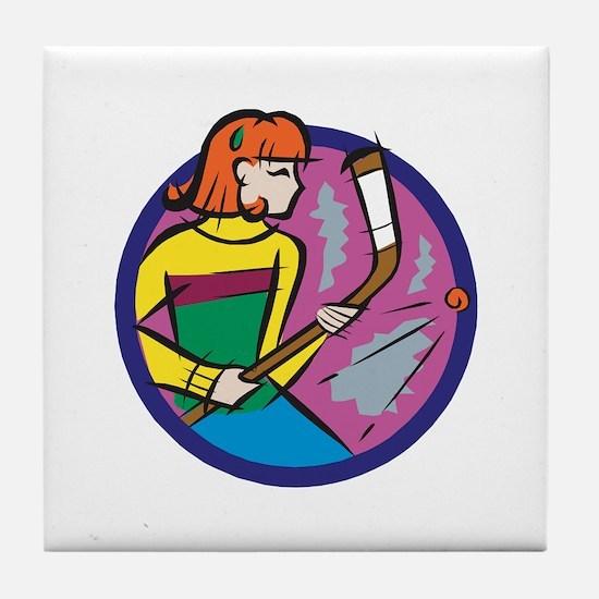 Hockey Girl Tile Coaster
