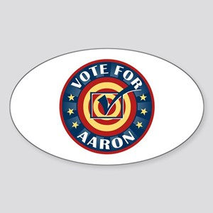 Vote for Aaron Personalized Oval Sticker