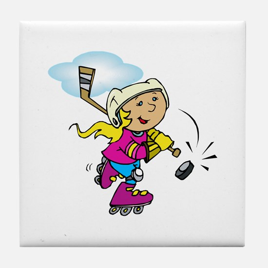 Cute Hockey Girl Tile Coaster