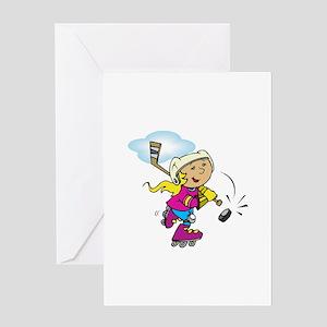 Cute Hockey Girl Greeting Card
